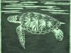 Sea Turtle in Green Linocut