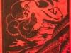 Octopus in Black on Red Linocut