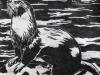 River Otter in Black on White Linocut