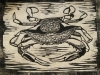 Blue Crab in Black Woodblock