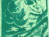 Octopus in Green Linocut