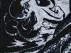 Octopus in Black on White Linocut