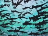 Shiver of Hammerheads in Black and Green Linocut