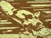 Platypus in Brown on Green Linocut