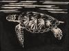 Sea Turtle in Black Linocut