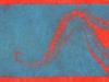 Octopus Tentacle Linocut in Blue on Red Linocut