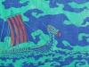 Viking Ship on Blue Linocut