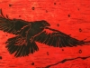 Raven in Winter on Red Linocut