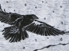 Raven in Winter on White Linocut