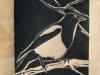 Magpie in Ivory Linocut