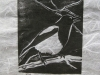 Magpie in White Linocut