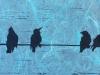Birds on a Wire in Blue Linocut