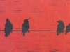 Birds on a Wire in Red Linocut