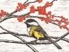 Chickadee Linocut