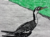 Cormorant on White Linocut