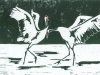 Dancing Cranes Linocut