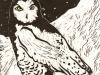 Snowy Owl in White Linocut
