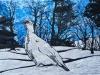 Ptarmigan in Snow on Blue Linocut