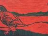 California Quail in Red Linocut