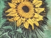 Sunflower in Black Linocut