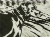 Labrador in Black on White Linocut