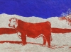 Bull in Winter in Blue and Brown Linocut