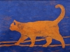 Orange Cat  on Blue Linocut