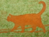 Orange Cat on Green Linocut