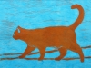 Orange Cat on Turquoise Linocut