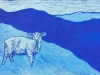 Lamb on Blue Linocut