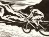 Mountain Biker Linocut