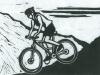 Female Mountain Biker Linocut