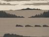 Coastal Landscape in Gray Linocut