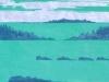 Coastal Landscape in Green Linocut