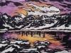 Sawtooth Mountains in Purple Linocut