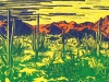 Sonoran Desert on Bright Yellow Linocut