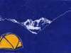 Solitude in Blue and Orange Linocut
