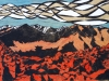 The White Clouds Mountains in Red and Blue Linocut