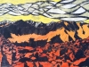 The White Clouds Mountains in Yellow Linocut