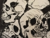 Skulls in White and Black Linocut