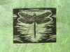 Dragonfly in Black on Green Linocut