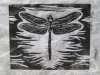 Dragonfly in Black on White Linocut