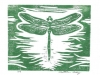 Dragonfly in Green on White Linocut