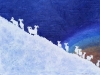 Bighorn Sheep Silhouette on Blue Linocut