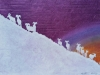Bighorn Sheep Silhouette on Purple Linocut