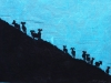 Bighorn Sheep Silhouette  on Turquoise Linocut