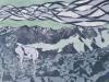 Bighorn Sheep in Green Linocut