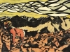 Bighorn Sheep in Yellow Linocut