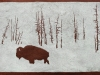 Bison in Snow on Brown Linocut