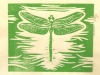 Dragonfly in Green on Ivory Linocut
